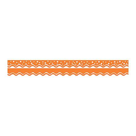 "Barker Creek Scalloped-Edge Double-Sided Borders, 2 1/4"" x 36"", Tangerine, Pack Of 13"