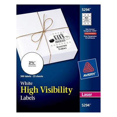Avery High Visibility Print To The Edge Permanent Laser Labels 5294 2 12  Diameter White Pack Of 300 by Office Depot & OfficeMax