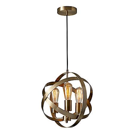 "Adesso® Donovan Pendant Lamp, 13-1/2""H, Antique Brass"