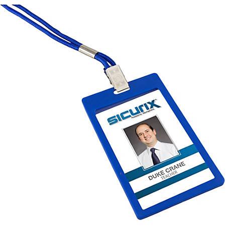 SICURIX Badge Holder - Vertical - 6 / Pack - Blue