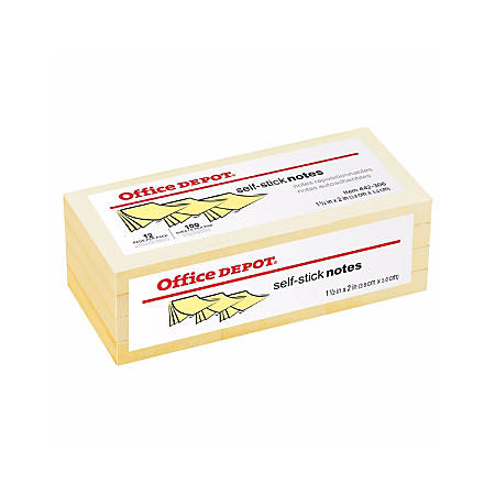 "Office Depot® Brand Self-Stick Notes, 1 1/2"" x 2"", Yellow, 100 Sheets Per Pad, Pack Of 12"