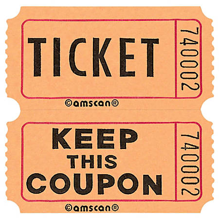 "Amscan Double Ticket Roll, 6-1/2""H x 6-1/2""W x 2""D, Orange, 2,000 Tickets Per Roll"