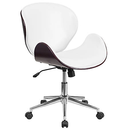 Flash Furniture Mid-Back Swivel Conference Chair, White/Mahogany/Silver