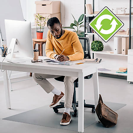 "Ecotex Evolutionmat Anti-slip Chairmat - Hard Floor, Pile Carpet, Home, Office - 59.06"" Length x 47.24"" Width - Rectangle - Polymer - Clear"