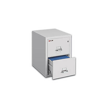 """FireKing® UL 1-Hour 31-5/8""""D Vertical 2-Drawer Legal-Size File Cabinet, Metal, Platinum, White Glove Delivery"""