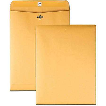 "Business Source 32 lb Kraft Clasp Envelopes - Clasp - #90 - 9"" Width x 12"" Length - 32 lb - Clasp - Kraft - 100 / Box - Brown Kraft"