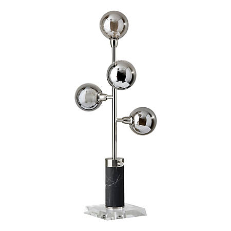 """Adesso® Calder LED Table Lamp, 28""""H, Smoked And Frosted Shade/Brushed-Steel Base"""