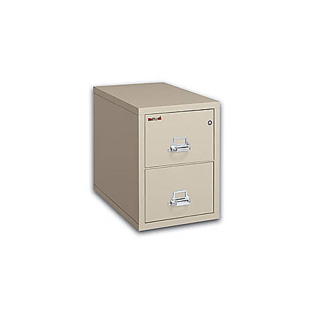 """FireKing® 25 Vertical File, 2-Drawer, Letter-Size, 27 3/4""""H x 17 3/4""""W x 25""""D, Parchment, White Glove Delivery"""