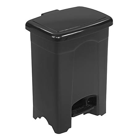 Safco® 4-Gallon Step-On Trash Receptacle, 4 Gallons, Black