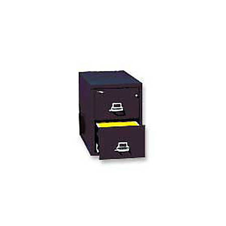 "FireKing® 25""D Vertical 2-Drawer Letter-Size File Cabinet, Metal, Black, White Glove Delivery"