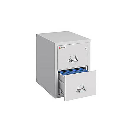 """FireKing® 25 Vertical File, 2-Drawer, Letter-Size, 27 3/4""""H x 17 3/4""""W x 25""""D, Platinum, White Glove Delivery"""