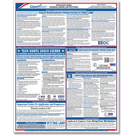 "ComplyRight Federal Applicant Area Poster, English, 16"" x 20"""