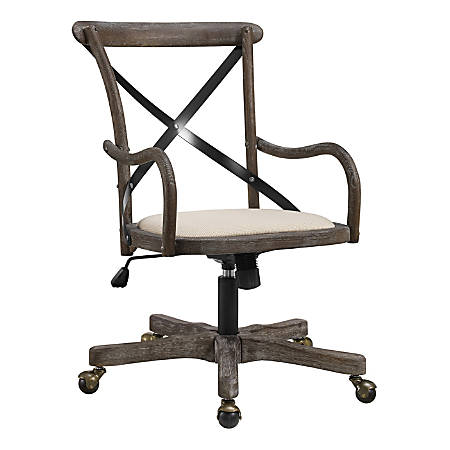 Linon Home Décor Cady Café Fabric Mid-Back Chair, Brown/Gray Wash