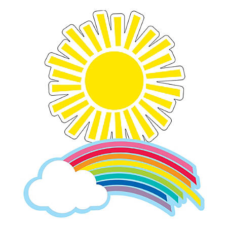Schoolgirl Style Cut-Out Decorations, Rainbow And Sun, Pack Of 36 Decorations