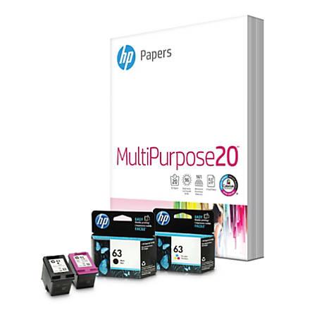 HP 63 Black/Tri-color Home Value Pack-150 sht/8.5 x 11 in - 2-pack - black, color (cyan, magenta, yellow) - print cartridge / paper kit - for Deskjet 1112, 21XX, 3630; Envy 45XX; Officejet 38XX, 46XX, 52XX