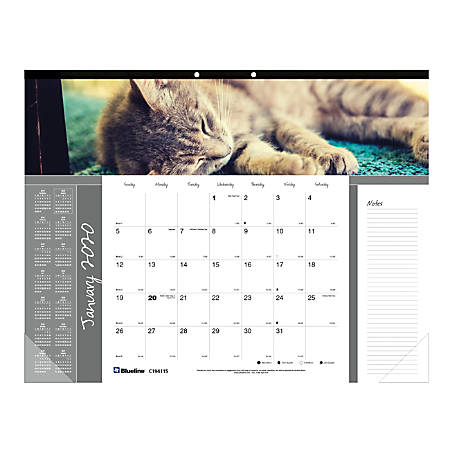"""Blueline® Furry Collection Monthly Desk Pad Calendar, 22"""" x 17"""", Different Cat Images each month, January to December 2020"""