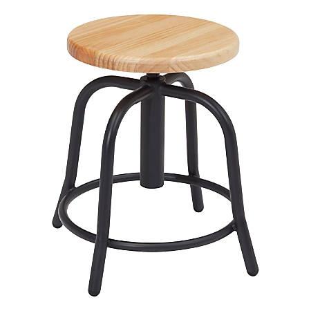 National Public Seating 6800 Designer Wood Swivel Stools, Wood/Black, Set Of 2