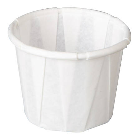 Genpak® Squat Pleated Paper Portion Cups, 0.5 Oz, White, 250 Cups Per Sleeve, Carton Of 20 Sleeves