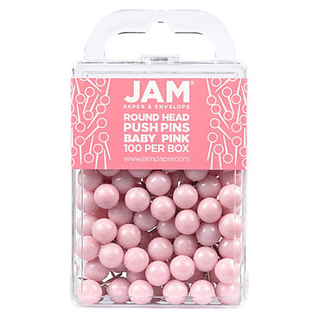 """JAM Paper® Colorful Push Pins, 1/2"""", Baby Pink, Pack Of 100 Push Pins"""