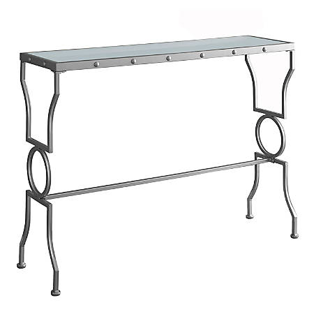 Monarch Specialties Console Table, Metal With Glass Top, Silver