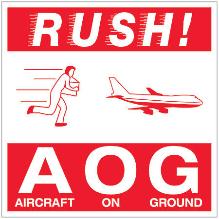 """Tape Logic® Preprinted Shipping Labels, DL1376, Rush AOG — Aircraft On Ground, Square, 4"""" x 4"""", Red/White, Roll Of 500"""