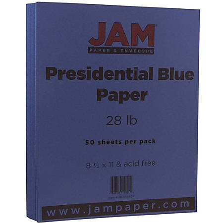 "JAM Paper® Printer Paper, Letter Size (8 1/2"" x 11""), 28 Lb, Presidential Blue, Ream Of 50 Sheets"