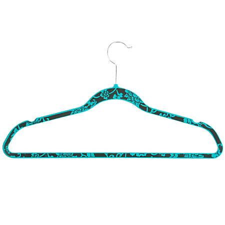 "Honey-Can-Do Velvet Touch Suit Hangers, 9 1/2""H x 1/4""W x 17 3/4""D, Blue Hawaiian, Pack Of 20"