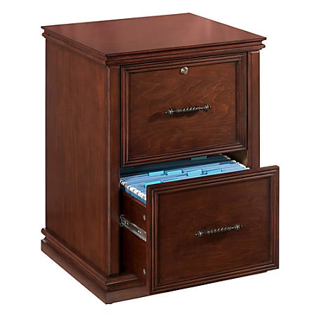 "Realspace® Premium Wood File Cabinet, 2 Drawers, 30""H x 21""W x 18 9/10""D, Dark Cherry"