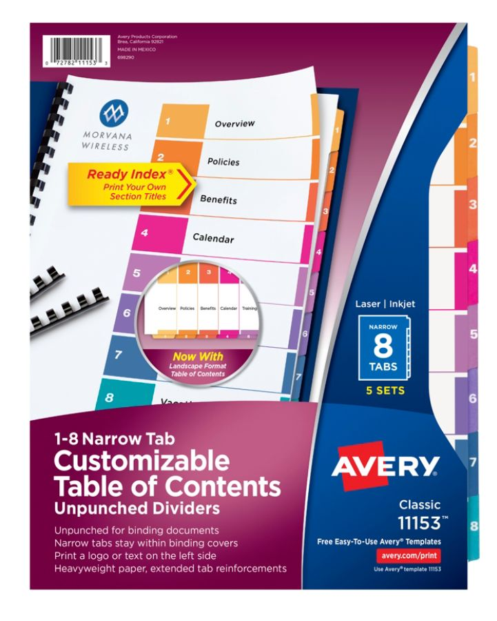 Avery Ready Index Narrow 8 Tab Table Of Contents Dividers 8 12 x 11