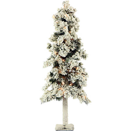 Fraser Hill Farm Artificial Snowy Alpine Trees With Clear Lights, 4'