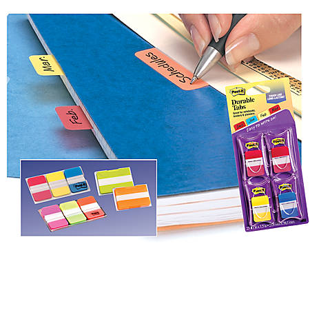 "Post-it® Durable Tabs, 1 1/2"" x 2"", Red/Yellow, 25 Flags Per Pad, Pack Of 2 Pads"