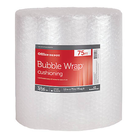 """Office Depot® Brand Bubble Roll, 3/16"""" Thick, Clear, 12"""" x 75'"""