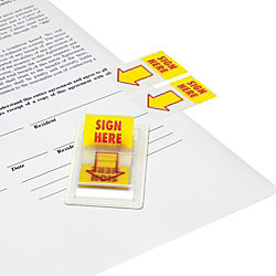 """Redi-Tag Pop-Up Page Flags, 1"""" x 1 11/16"""", """"Sign Here"""", Red/Yellow, Pack Of 100 Flags"""