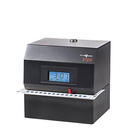 Pyramid™ 3700 Heavy-Duty Time Clock & Document Stamp, Black