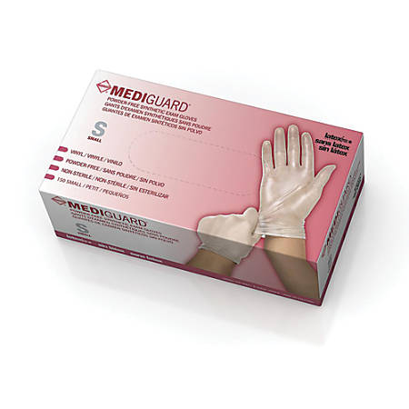 MediGuard® Select Synthetic Vinyl Exam Gloves, Small, Clear, 150 Gloves Per Box, Case Of 10 Boxes