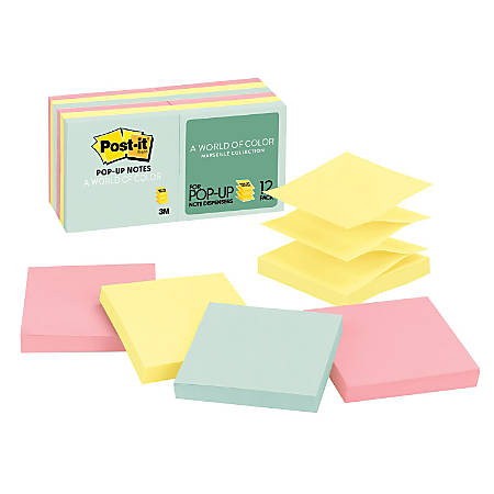 """Post it® Pop up Notes, 3"""" x 3"""", Marseille, Pack Of 12 Pads"""
