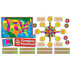 Scholastic US Map And Compass Directions Bulletin Board Aid By - Us map with compass