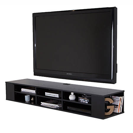 "South Shore City Life 66"" Wide Wall Mounted Media Console, Black Oak"