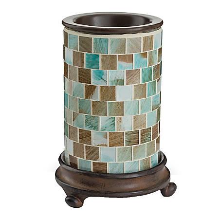 "Candle Warmers Etc Glass Illumination Fragrance Warmer, 5-13/16"" x 8-13/16"", Sea Glass Mosaic"