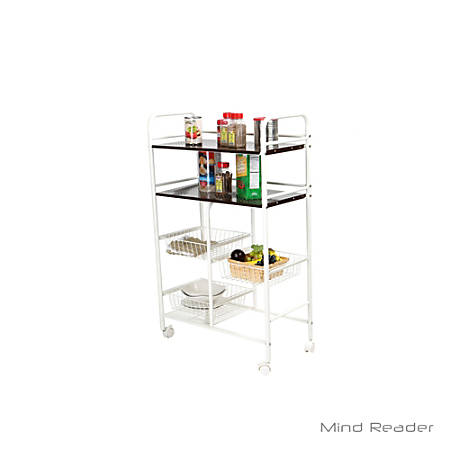 Mind Reader Stainless-Steel Mobile Kitchen Trolley, White
