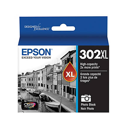 Epson® Photo T302XL120-S High-Yield Black Ink Cartridge
