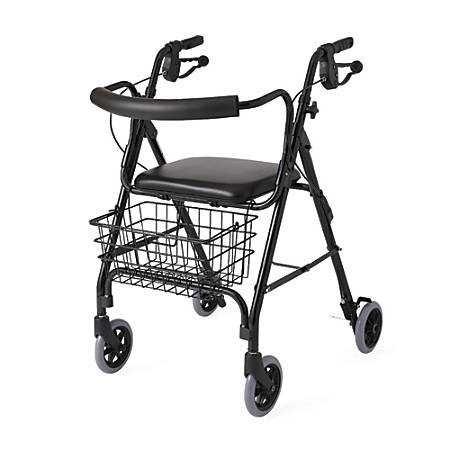 "Guardian Deluxe Rollator, 6"" Wheels, Black"