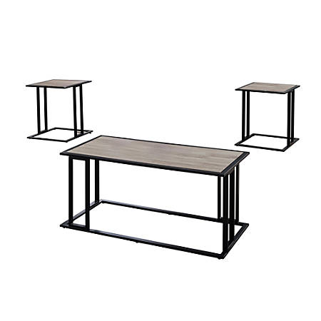 "Monarch Specialties Coffee Table With Two 20 1/2""W Square End Tables, Dark Taupe/Black"
