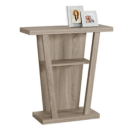 Monarch Specialties Hall Accent Table, Trapezoid, Dark Taupe
