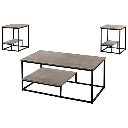 """Monarch Specialties Coffee Table With Two 18""""W Square End Tables, Dark Taupe/Black"""