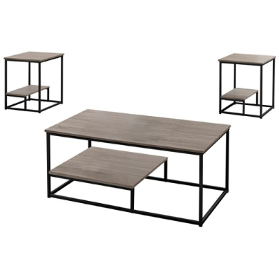 Admirable Monarch Specialties Coffee Table With Two 18W Square End Tables Dark Taupe Black Item 4462506 Ocoug Best Dining Table And Chair Ideas Images Ocougorg