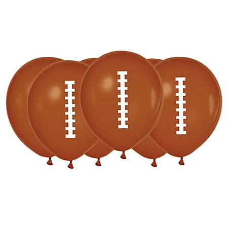 "Amscan Latex Football Balloons, 12"" x 12"", 6 Balloons Per Pack, Set Of 6 Packs"