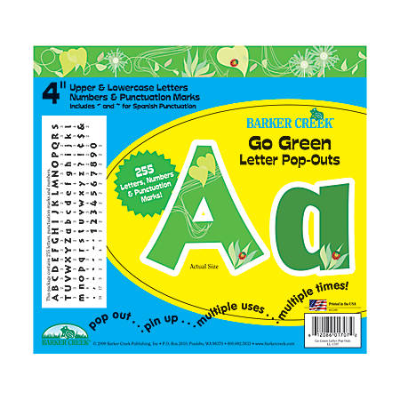 "Barker Creek® Letter Pop-Outs, 4"", Go Green, Set Of 255"
