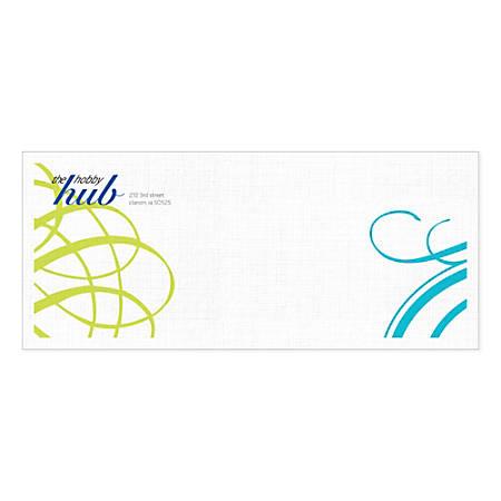 """Custom Full-Color Flat-Print Envelopes, #10, 4 1/8"""" x 9 1/2"""", Bright White Linen, Box Of 250"""