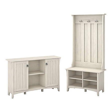 Bush Furniture Salinas Entryway Storage Set With Hall Tree Shoe Bench And Accent Cabinet